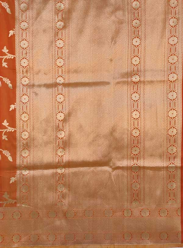 Rust Katan silk Handwoven Banarasi saree with meenedar birds jaal (5) pallu