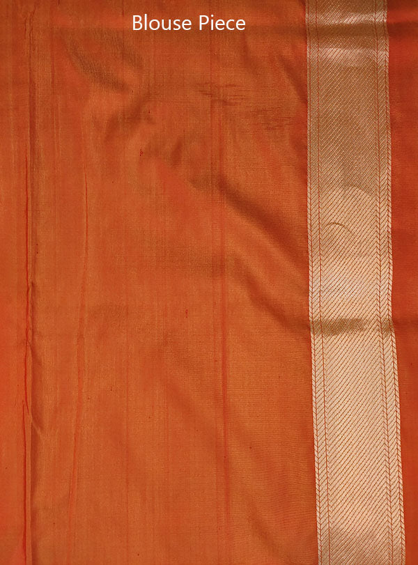 Rust Katan silk Handwoven Banarasi saree with meenedar birds jaal (6) blouse