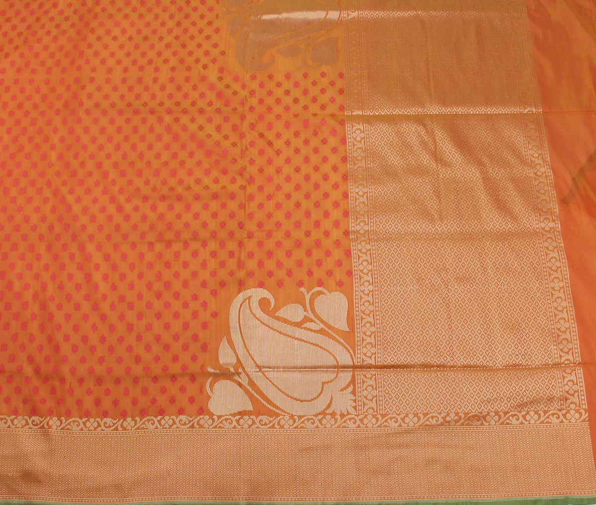 Rust Katan Silk Handwoven Banarasi saree with paisley konia (2) flat