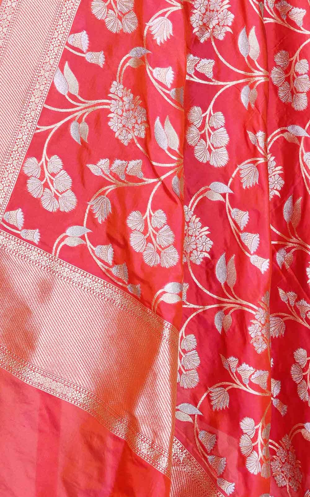 Salmon Katan silk Banarasi dupatta with artistic sona rupa floral jaal (2) Close up