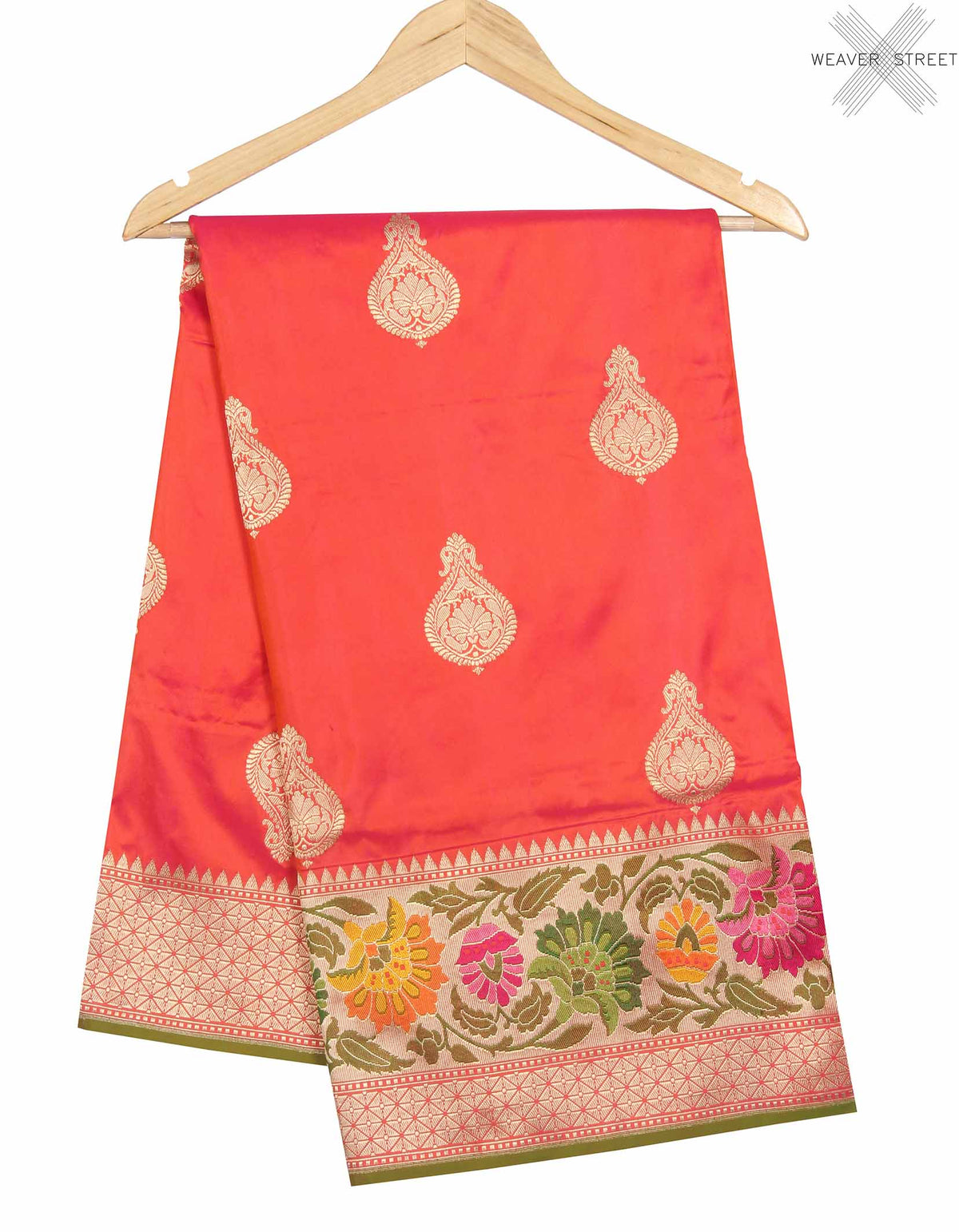 Salmon Katan Silk Handwoven Banarasi saree with stylized boota (1) main