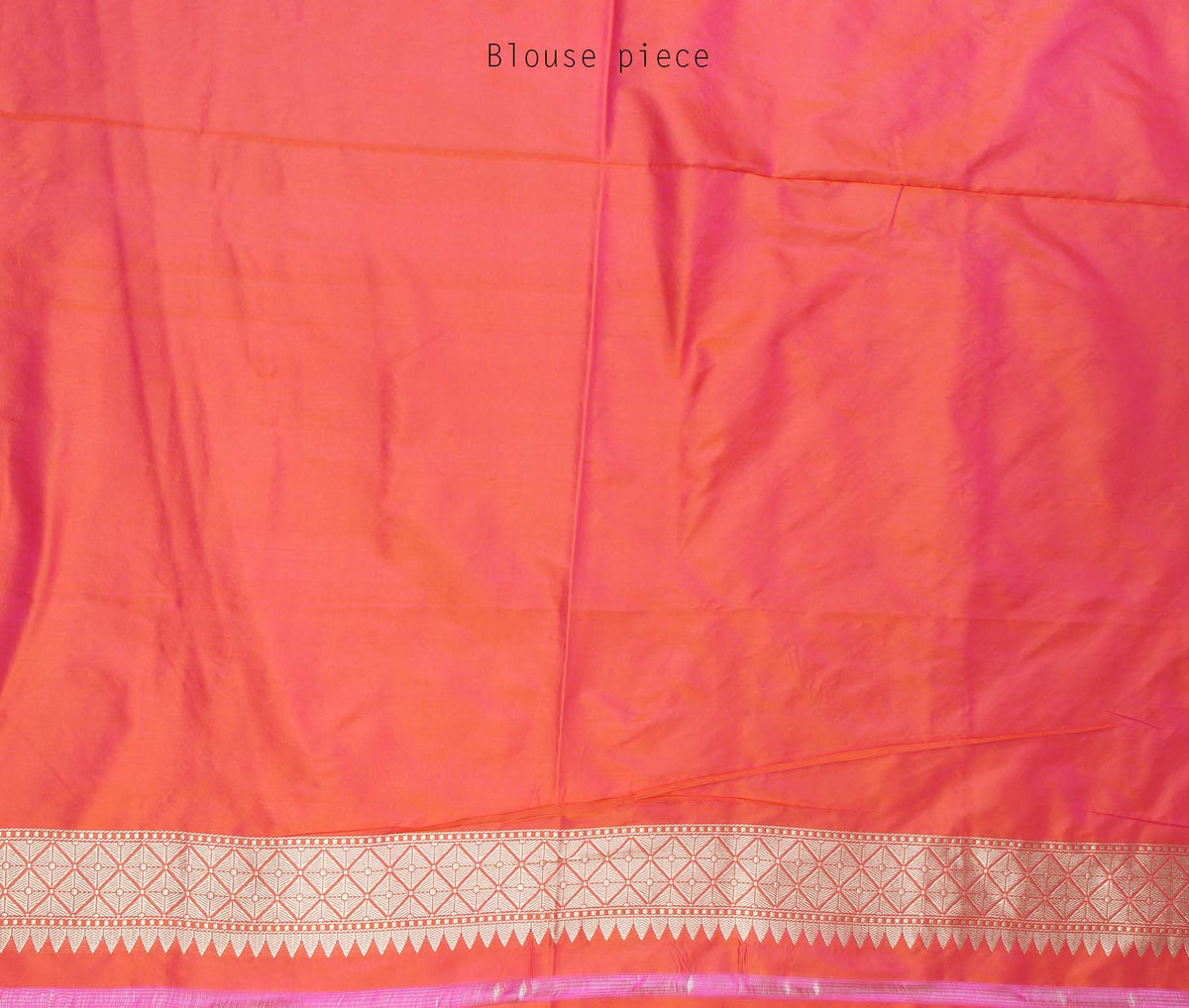 Salmon Katan Silk Handwoven Banarasi saree with stylized boota (4) blouse