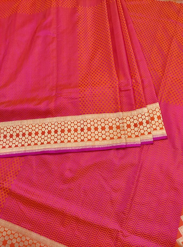 Salmon katan silk Banarasi saree with tanchoi multi patterns (3) center