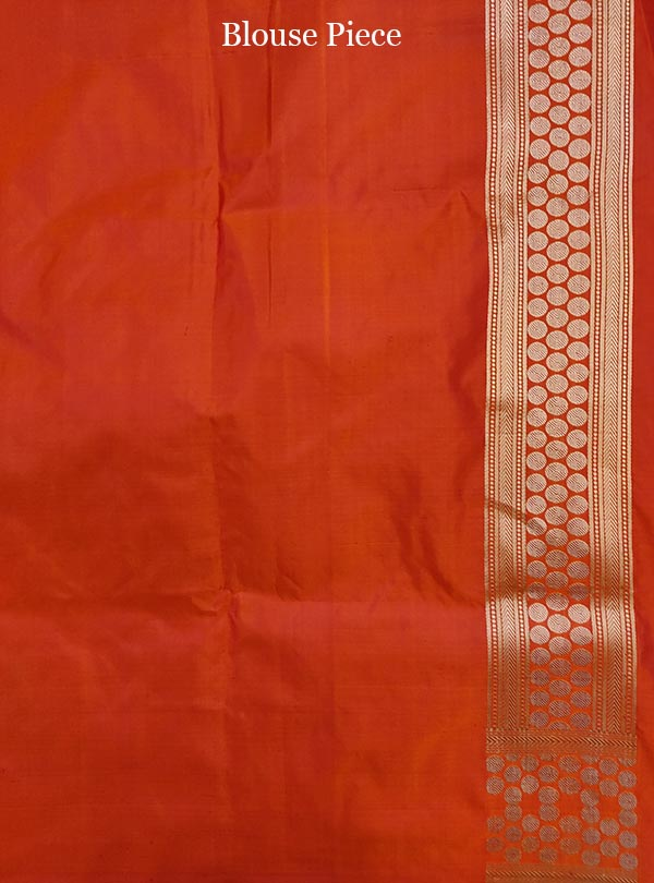 Salmon katan silk Banarasi saree with tanchoi multi patterns (5) blouse