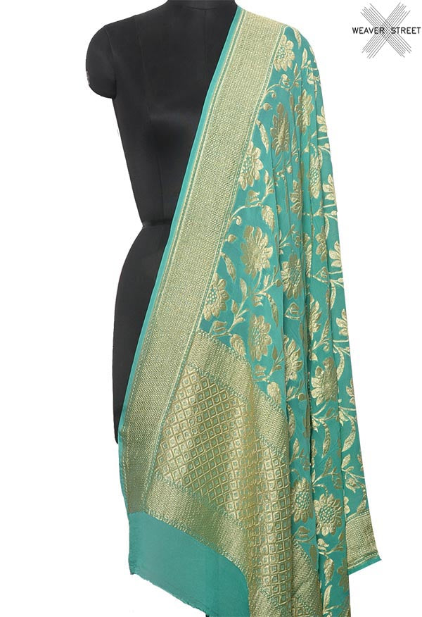Sea Green khaddi georgette Banarasi dupatta with floral jaal (1) Main