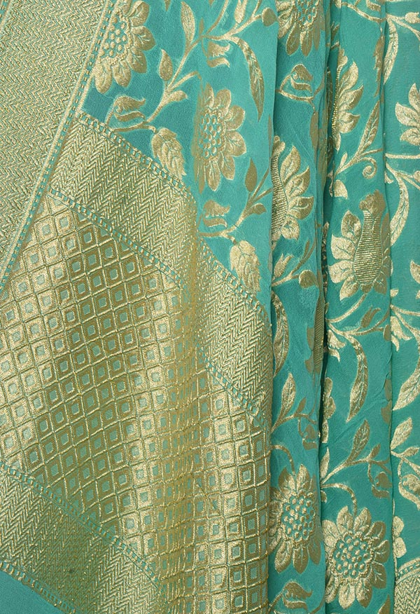 Sea Green khaddi georgette Banarasi dupatta with floral jaal (2) Close up