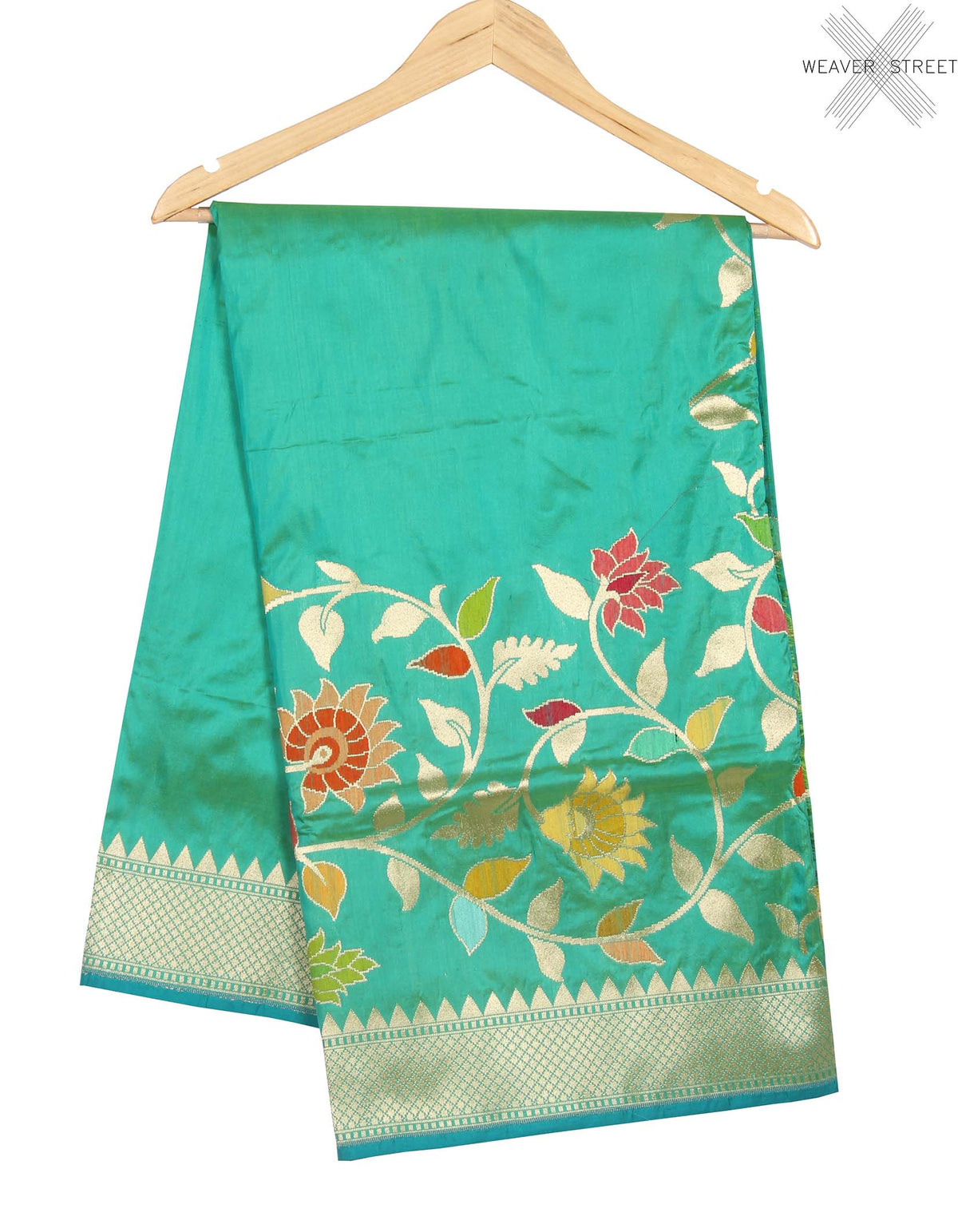 Sea Green Katan Silk Handwoven Banarasi saree with meenedar floral jaal border (1) main