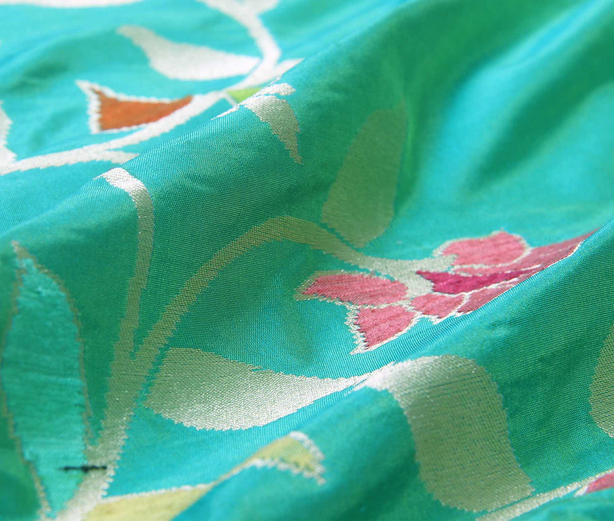Sea Green Katan Silk Handwoven Banarasi saree with meenedar floral jaal border (3) closeup