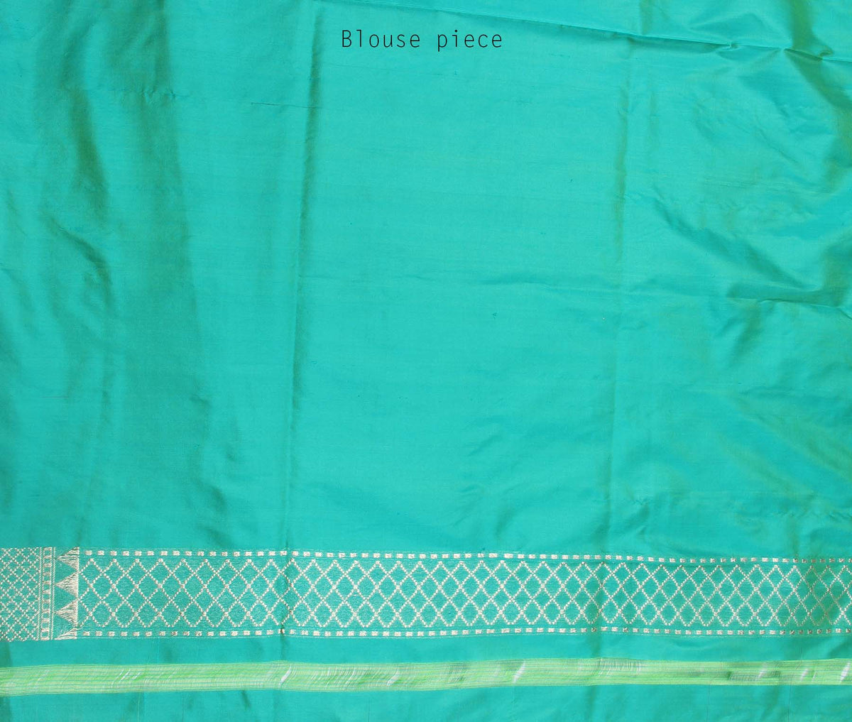 Sea Green Katan Silk Handwoven Banarasi saree with meenedar floral jaal border (4) blouse