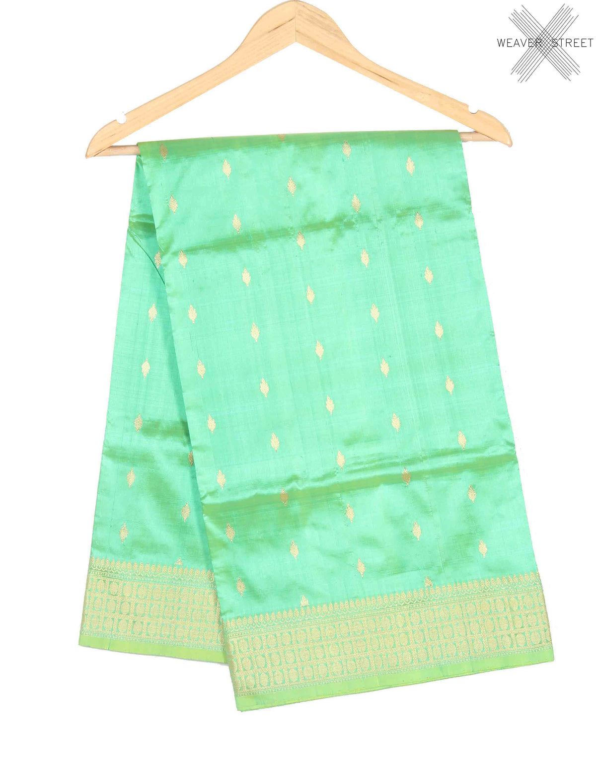 Sea Green Katan Silk Handwoven Banarasi saree with mini booti (1) Main