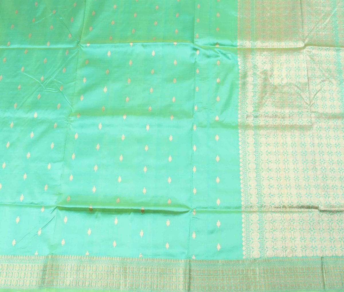 Sea Green Katan Silk Handwoven Banarasi saree with mini booti (2) Flat
