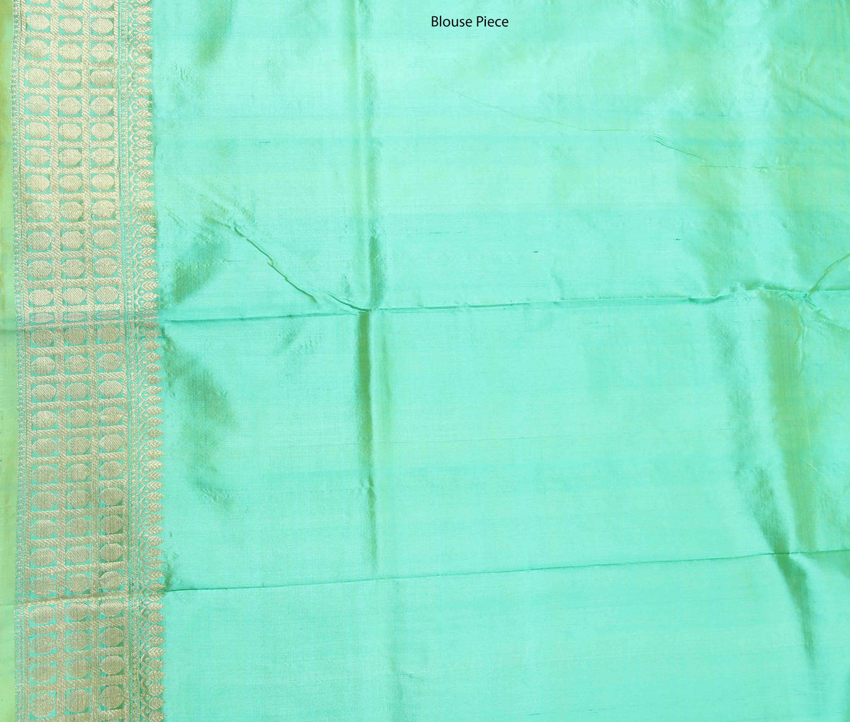 Sea Green Katan Silk Handwoven Banarasi saree with mini booti (4) Blouse