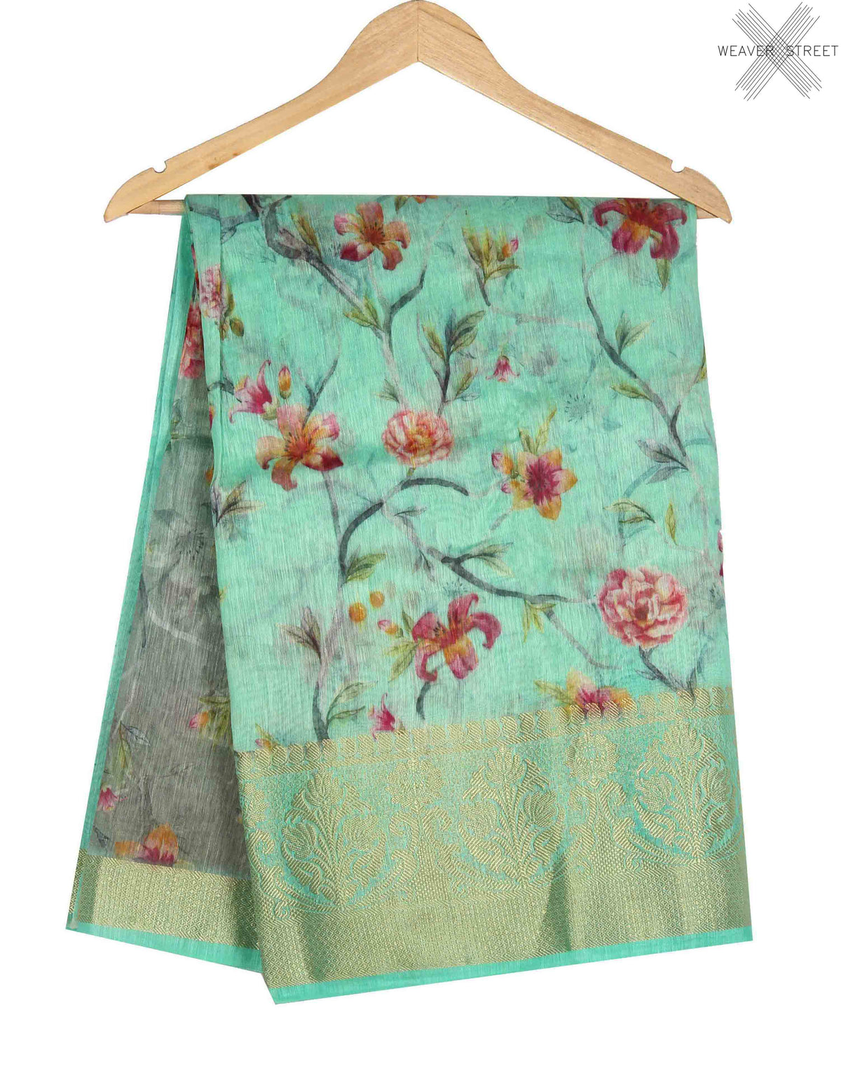 Sea Green Silk Linen Banarasi saree with shaded Floral prints (1) main