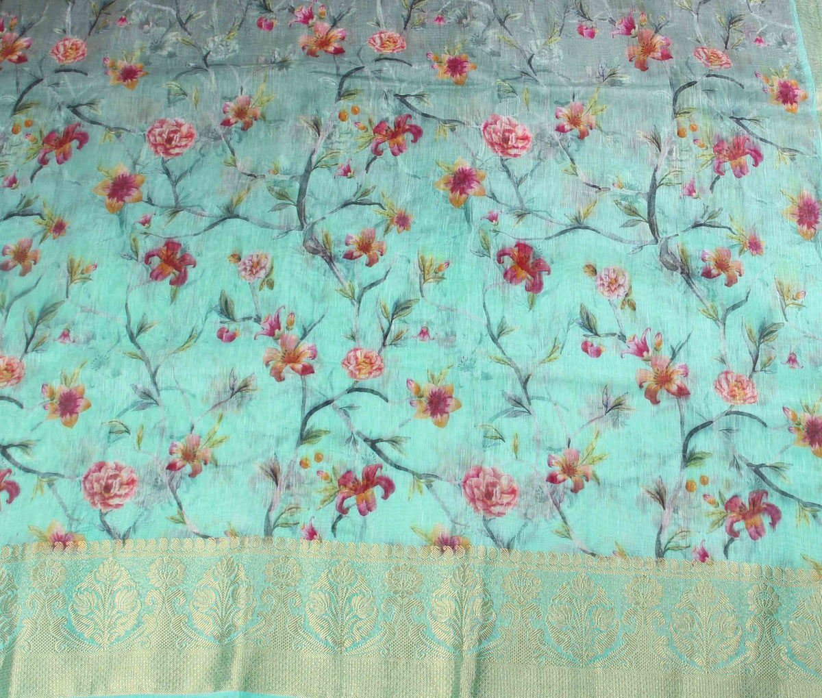 Sea Green Silk Linen Banarasi saree with shaded Floral prints (2) flat
