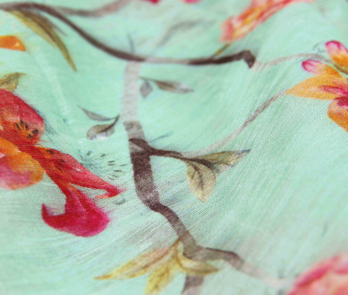Sea Green Silk Linen Banarasi saree with shaded Floral prints (3) closeup