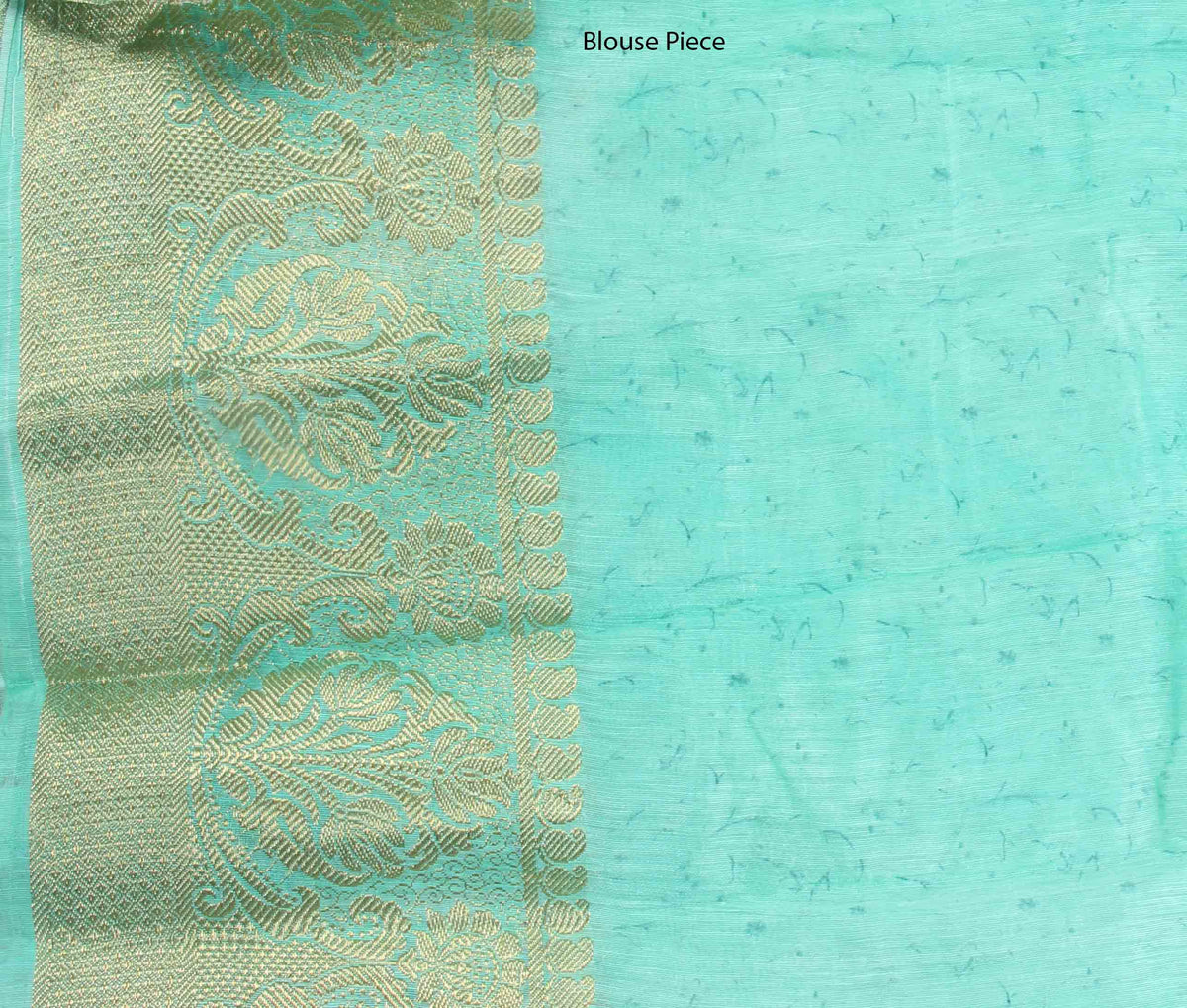 Sea Green Silk Linen Banarasi saree with shaded Floral prints (4) blouse