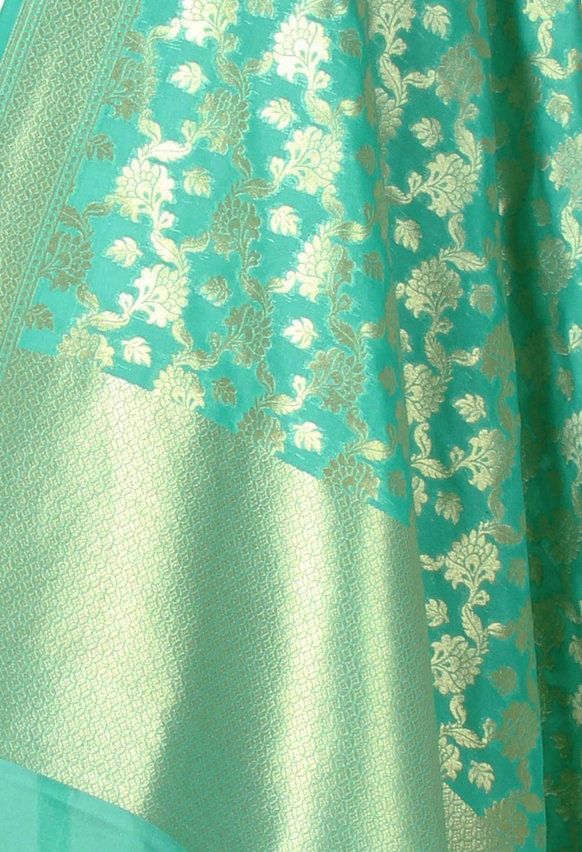 Sea green Banarasi dupatta with leaf motifs inside flower jaal (2) closeup