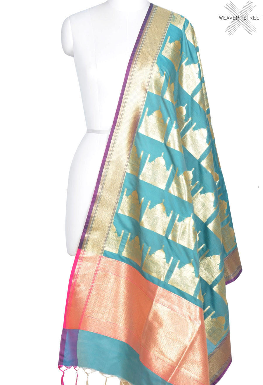 Sea green art silk Banarasi dupatta with Taj mahal motifs (1) Main