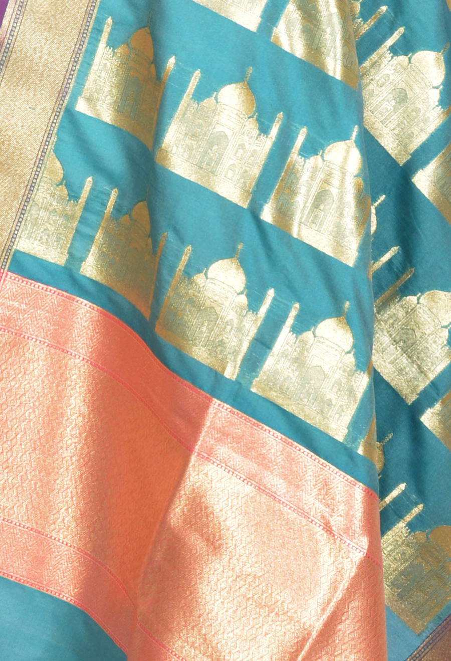 Sea green art silk Banarasi dupatta with Taj mahal motifs (2) Close up