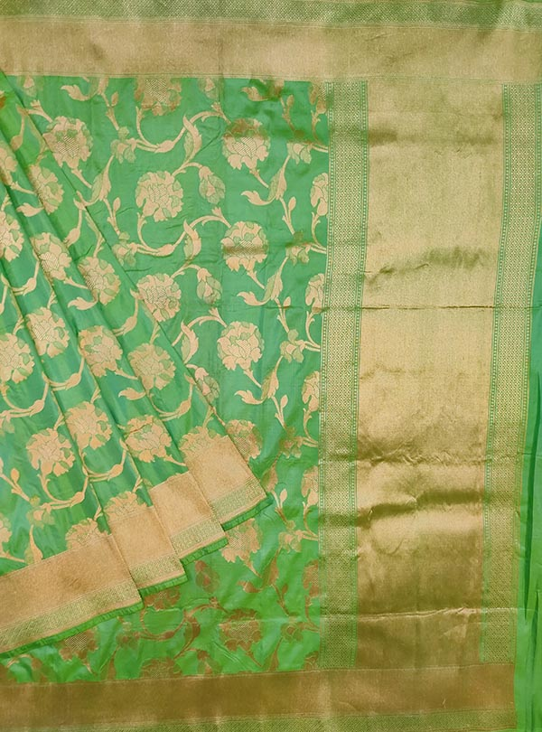 Sea green katan silk Banarasi saree with elegant flower jaal (1) main