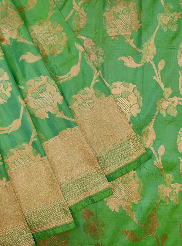 Sea green katan silk Banarasi saree with elegant flower jaal (2) close up