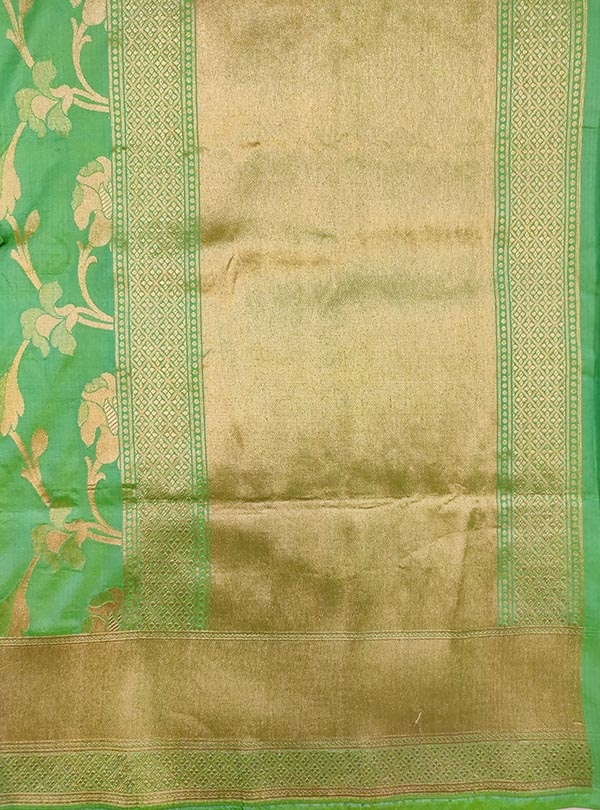 Sea green katan silk Banarasi saree with elegant flower jaal (4) anchal