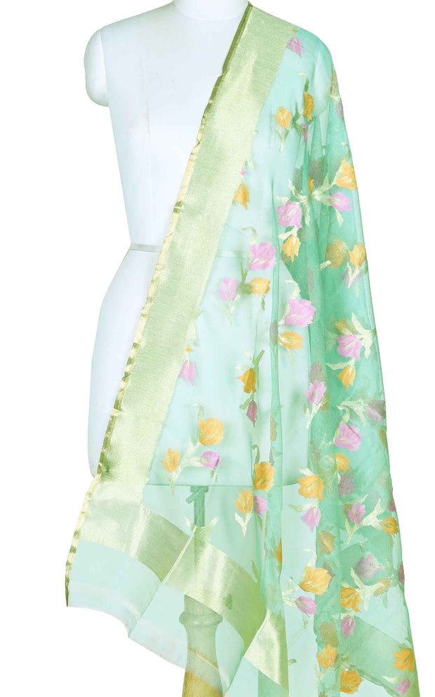 Sea green kora silk Banarasi dupatta with meenedar flower boota (1) Main