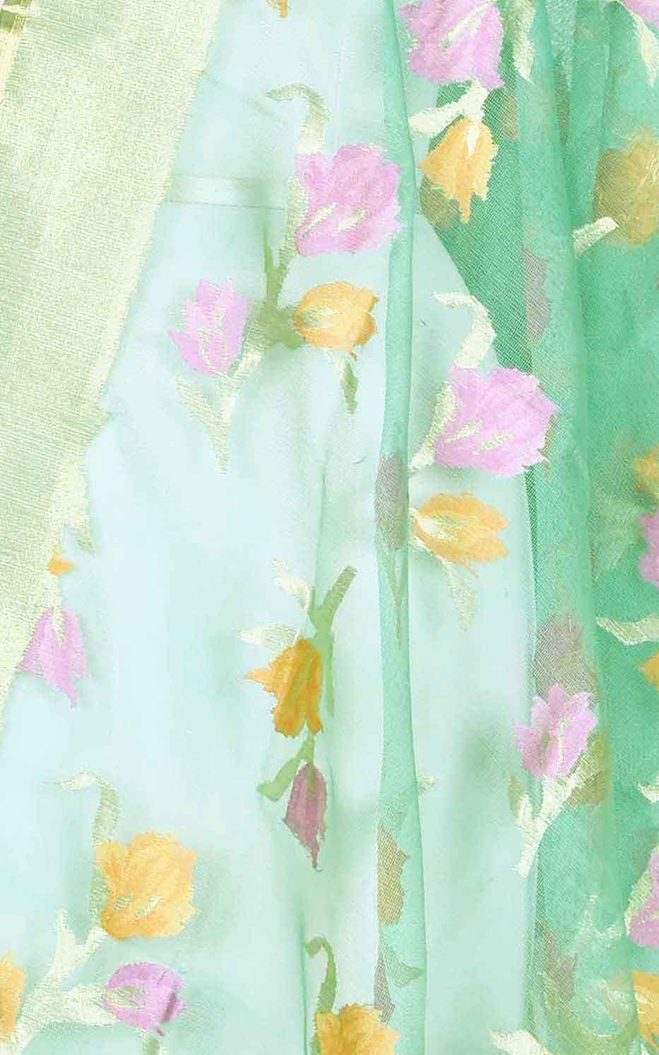 Sea green kora silk Banarasi dupatta with meenedar flower boota (2) Close up