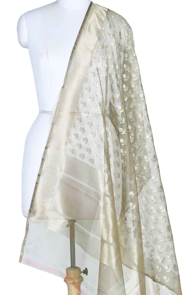 Smokey Grey kora silk Banarasi dupatta with mini flower booti (1) Main