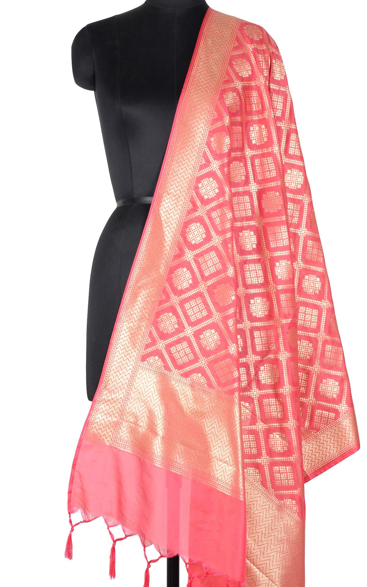 Strawberry Banarasi dupatta with gharchola jaal (1) Main