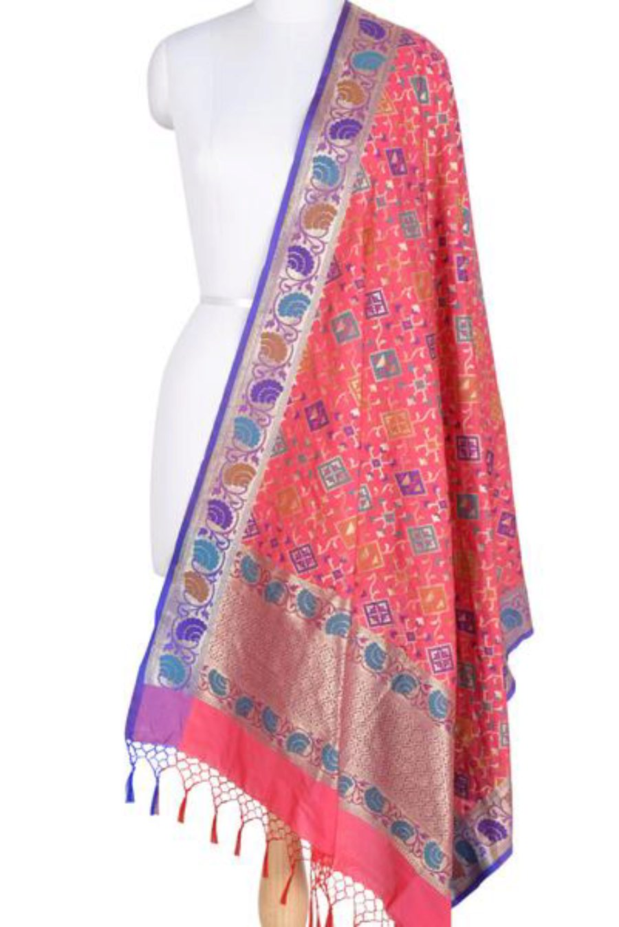 Strawberry Pink Banarasi Dupatta with Rajkoti pattern and paithani border (1) Main