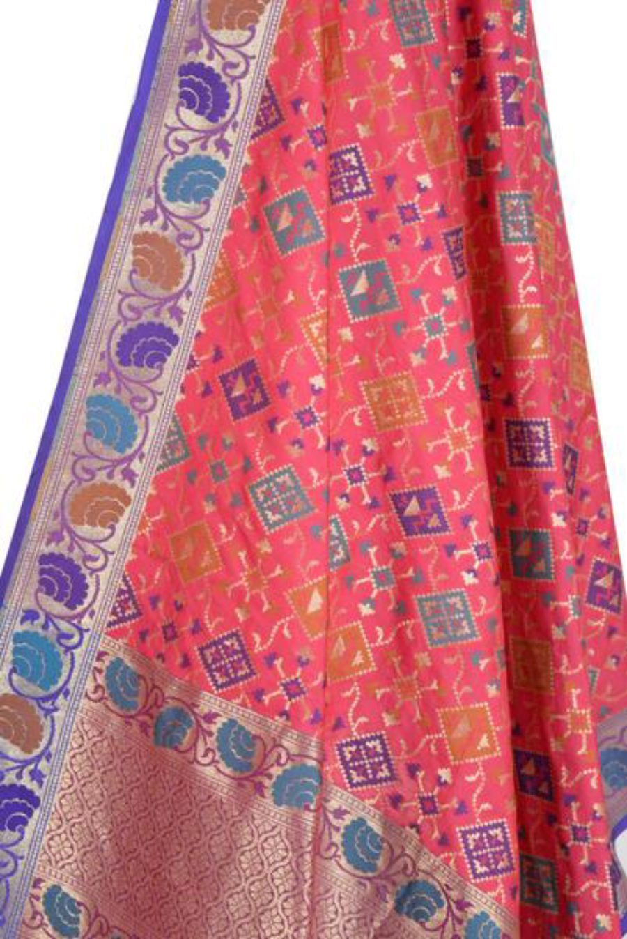 Strawberry Pink Banarasi Dupatta with Rajkoti pattern and paithani border (2) Closeup