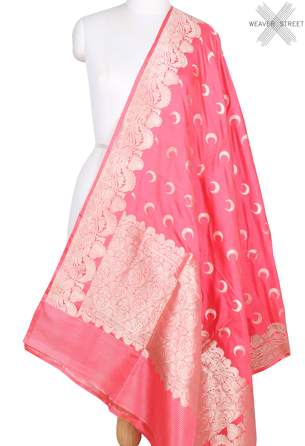Strawberry red Katan silk handwoven Banarasi dupatta with chaand booti  (1) main