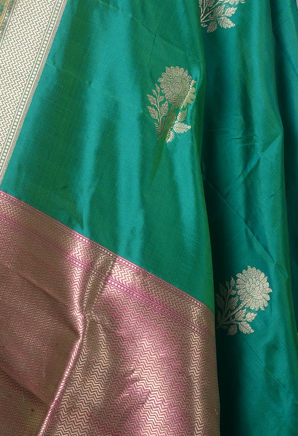 Teal Katan Silk Banarasi dupatta with Floral buta (2) Close up