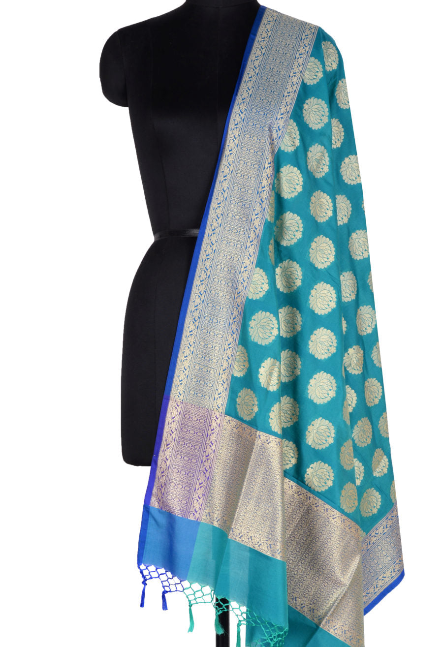 Teal Banarasi Dupatta with lotus motifs  (1) Main