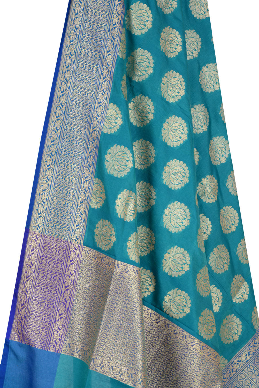 Teal Banarasi Dupatta with lotus motifs  (2) Close up