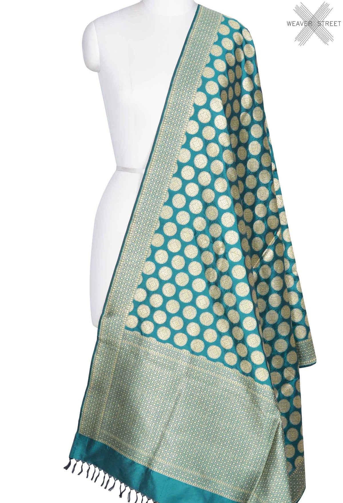 Teal Katan Silk Banarasi Dupatta with gold coin motifs (1) Main