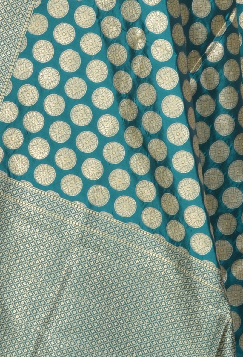 Teal Katan Silk Banarasi Dupatta with gold coin motifs (2) Close up