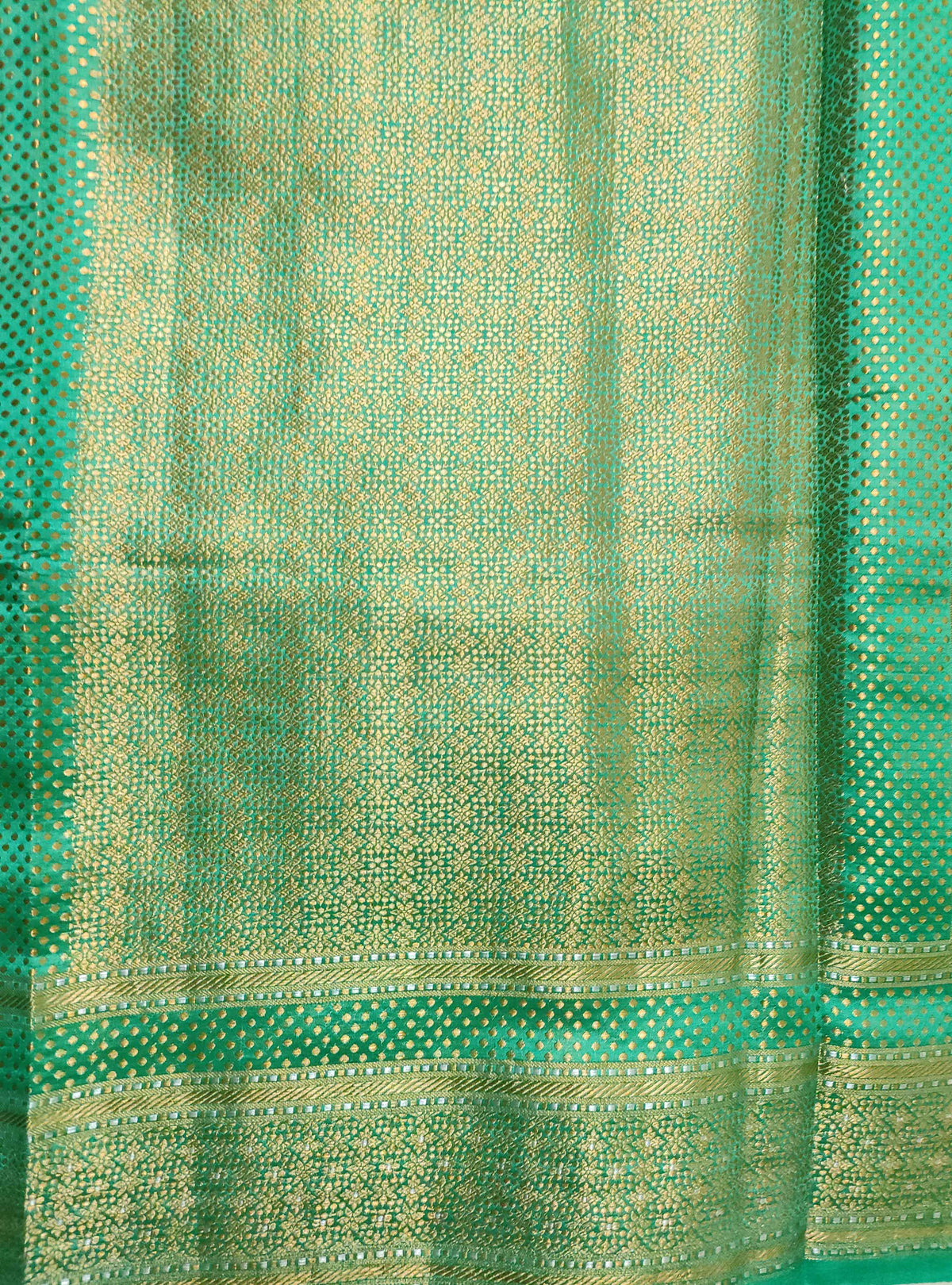 Teal Muga Chiniya silk Banarasi saree with meenedar flower jaal (4) Anchal