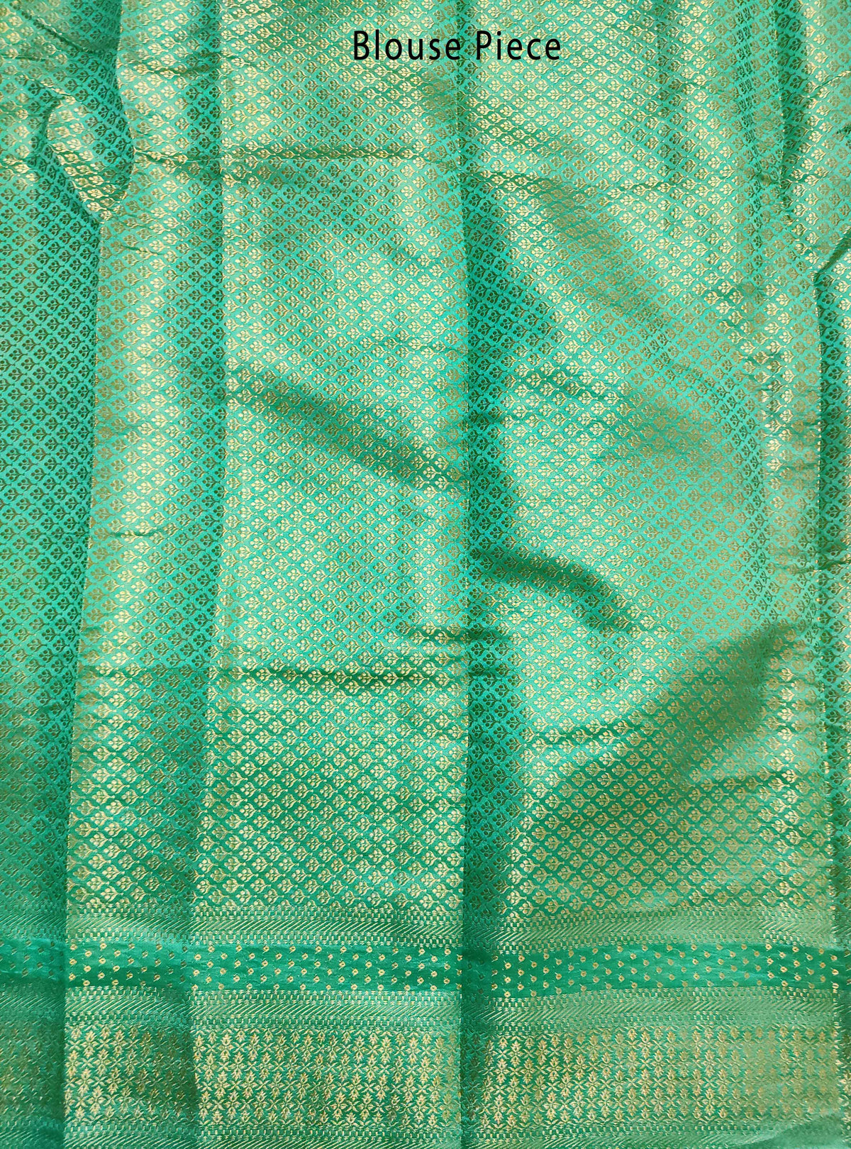 Teal Muga Chiniya silk Banarasi saree with meenedar flower jaal (5) Blouse Piece