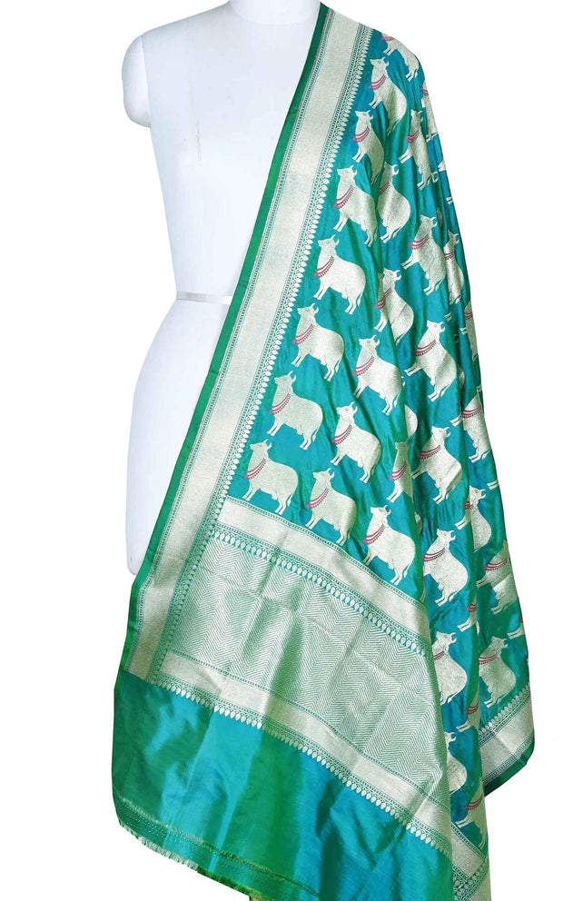 Teal katan silk Banarasi dupatta with meenedar cow boota (1) Main