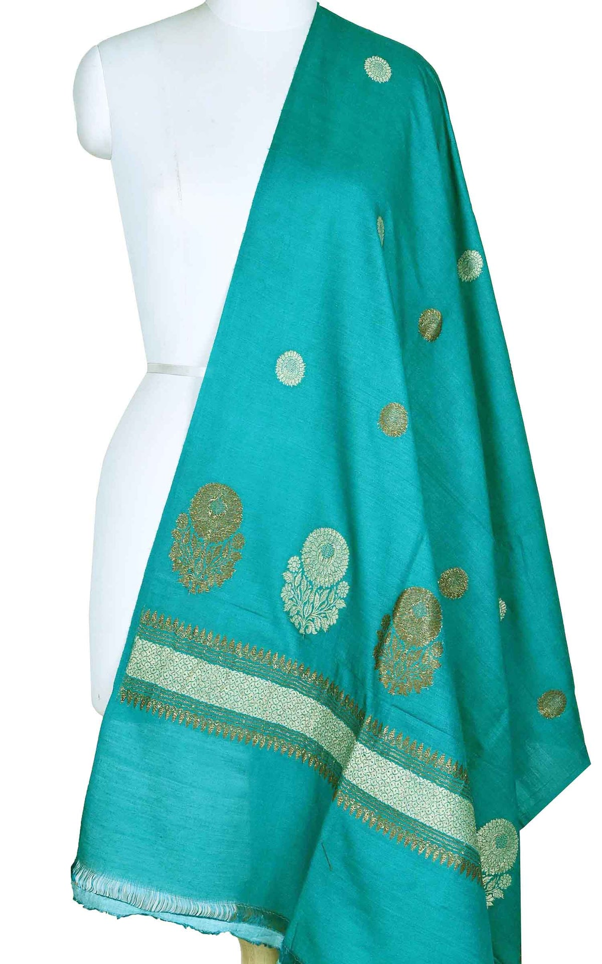 Teal muga silk Banarasi dupatta with round shape flower booti (1) Main