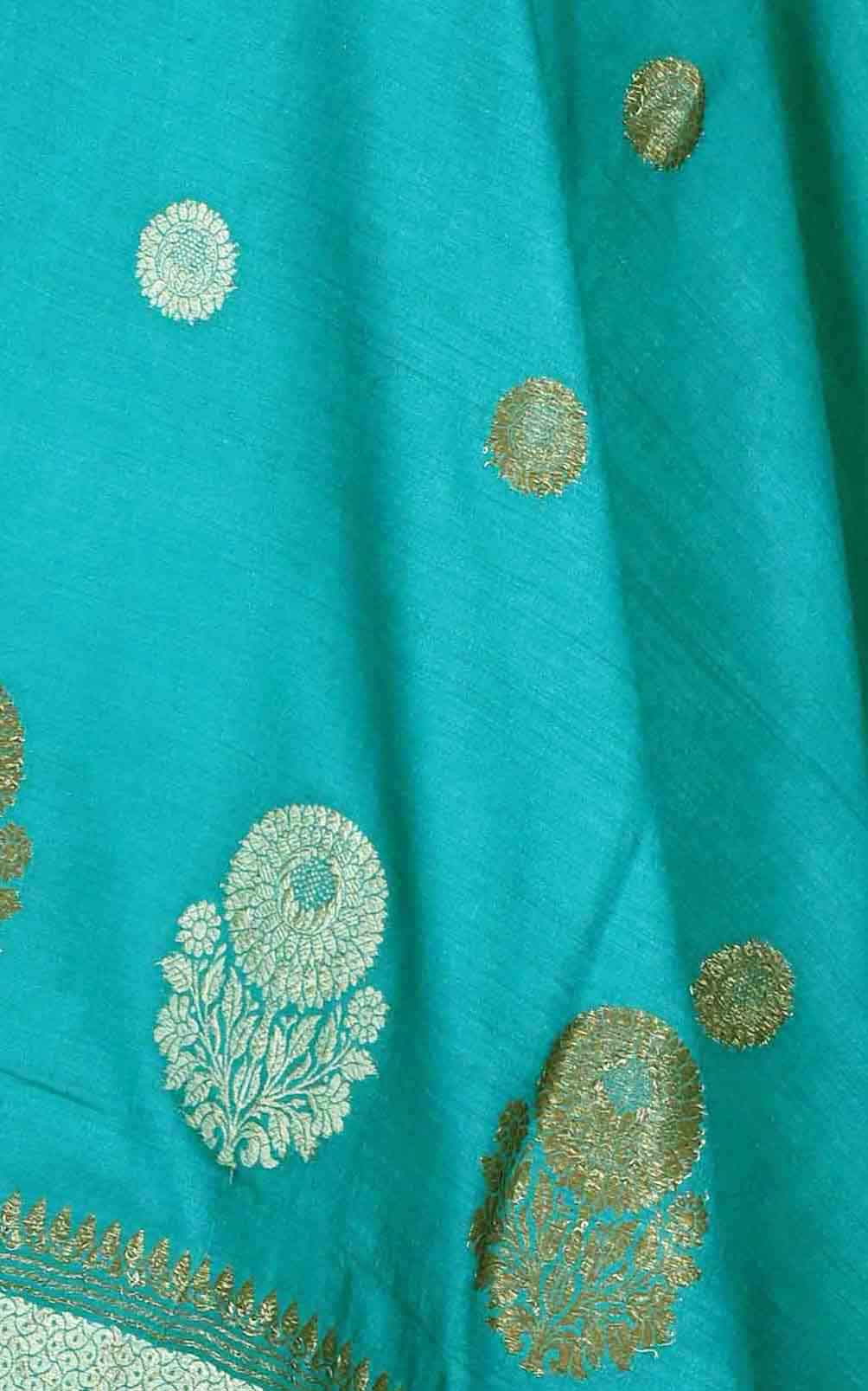 Teal muga silk Banarasi dupatta with round shape flower booti (2) Close up