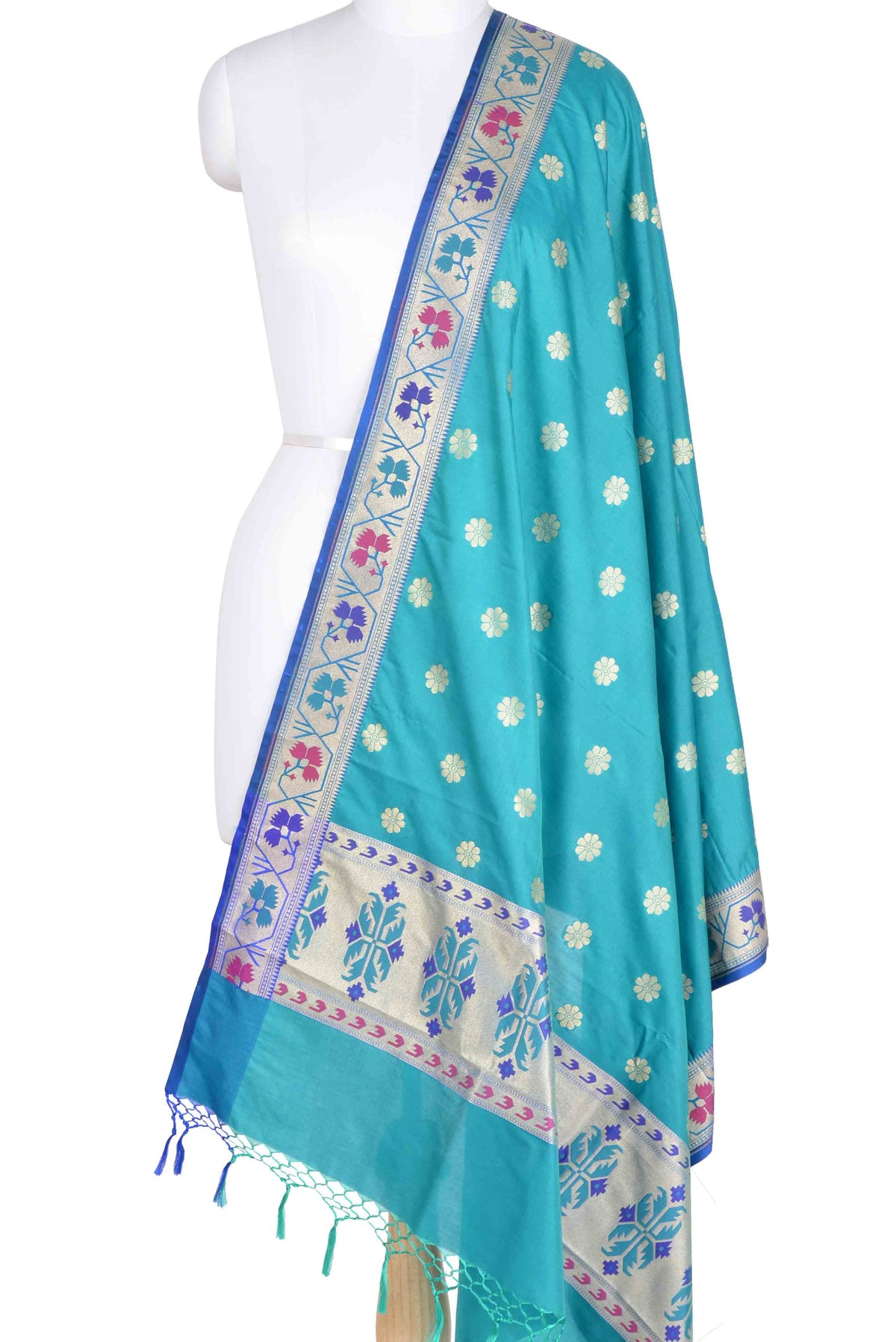 Turquoise Banarasi Dupatta with multi color border with floral motif 1 main