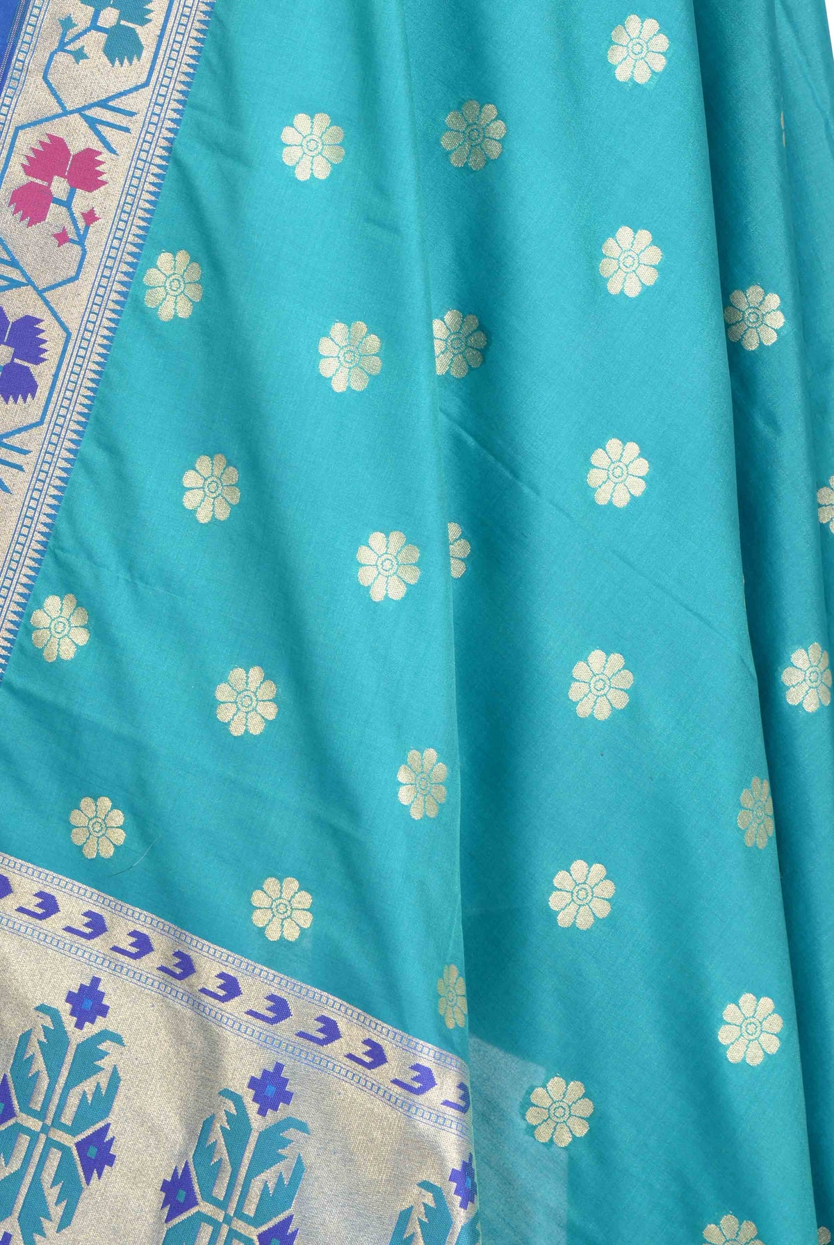 Turquoise Banarasi Dupatta with multi color border with floral motif 2 closeup