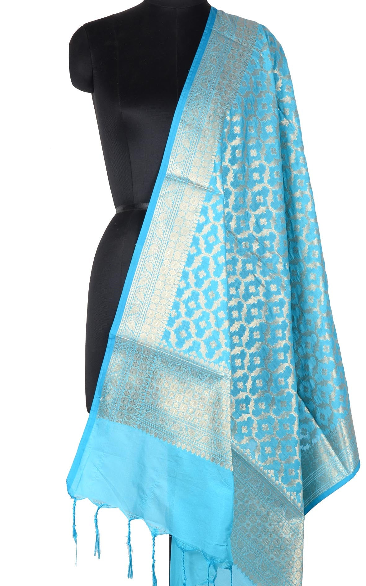 Turquoise Banarasi dupatta with booti inside ogee jaal (1) Main