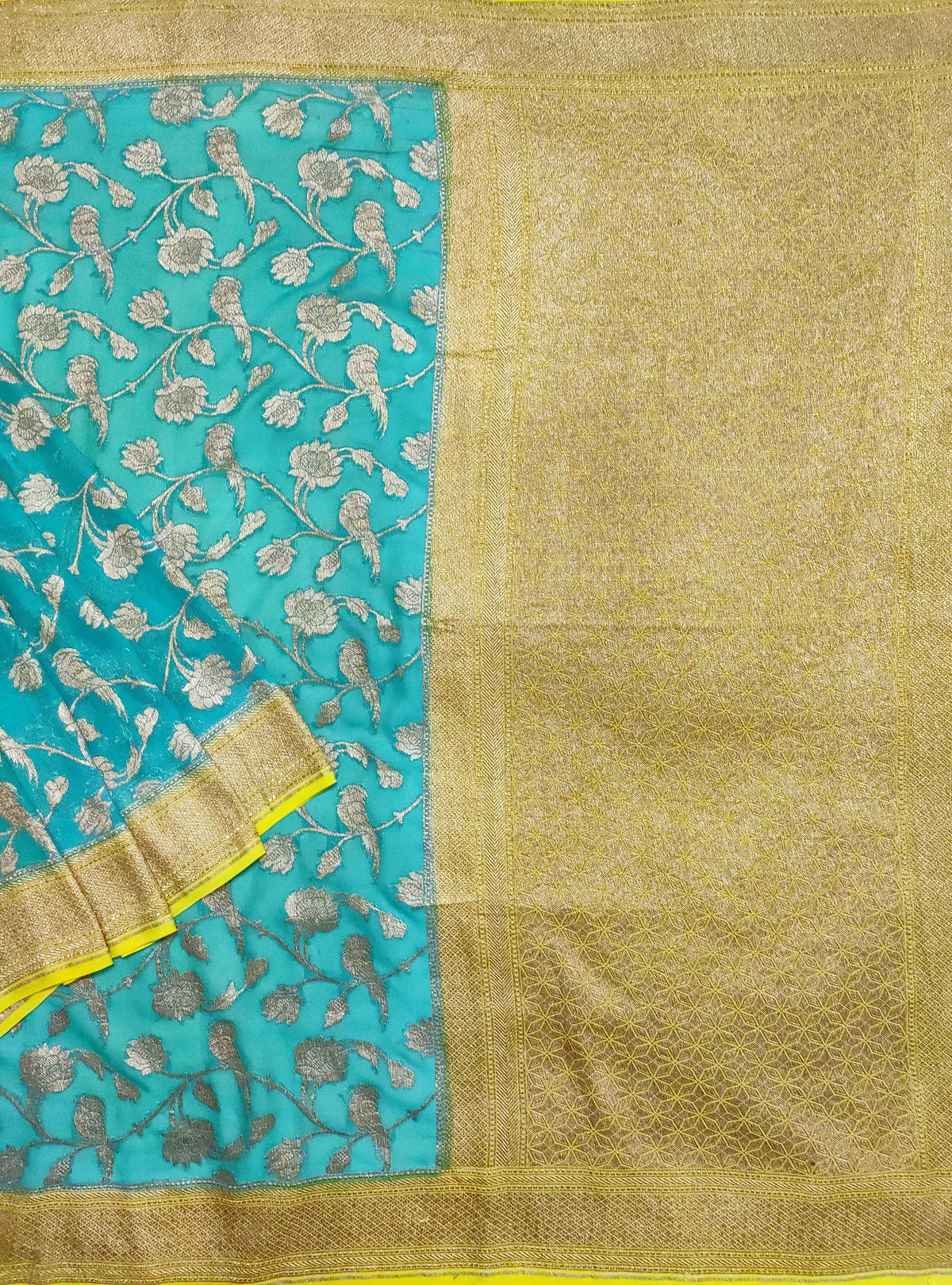 Turquoise Khaddi georgette Handwoven Banarasi saree with flower and bird jaal (1) Main