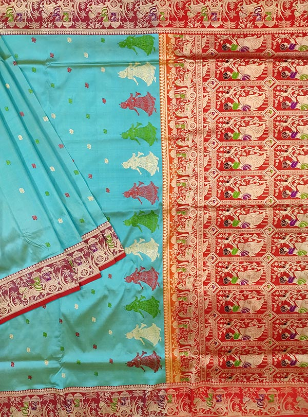 Turquoise katan silk Banarasi saree with Baluchari style border and anchal (1) Main