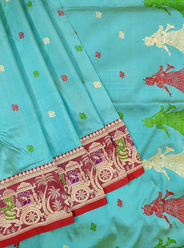 Turquoise katan silk Banarasi saree with Baluchari style border and anchal (2) close up