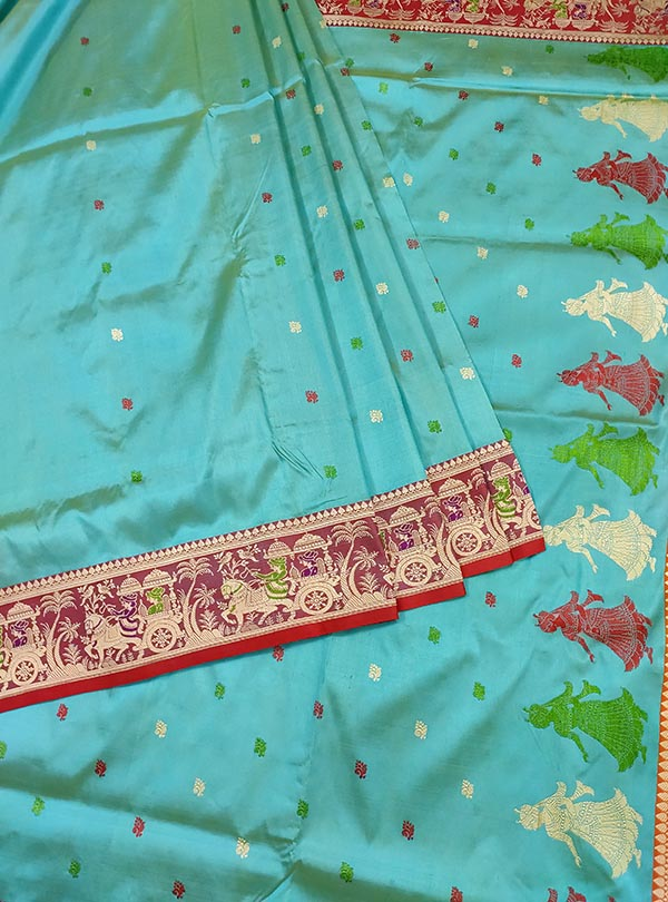 Turquoise katan silk Banarasi saree with Baluchari style border and anchal (3) Center